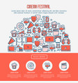 cinema festival concept with thin line icons vector image vector image