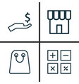 commerce icons set collection of shop rich tote vector image vector image