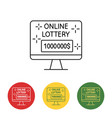 computer image online lottery on the screen vector image vector image