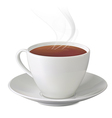 cup hot tea with steam and saucer vector image vector image