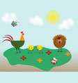 cute beige and red cock and chicken farm animal vector image vector image