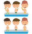 cute boys sit at the edge of the pool with vector image vector image