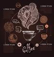 decorative sketch of cup of coffee or tea coffee vector image vector image