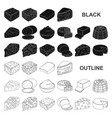 different kind of cheese black icons in set vector image vector image