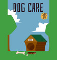 dog care header and doghouse on landscape vector image vector image
