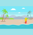 empty beach near sea with tall palms and surfboard vector image