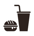 fast food burger and drink icon vector image vector image