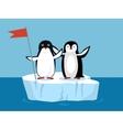 Funny Emperor Penguins on Arctic Glacier with Flag vector image vector image