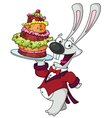 funny rabbit with cake vector image vector image
