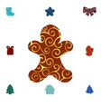 gingerbread man pattern silhouette christmas vector image