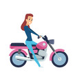 girl driver cute woman on motorcycle isolated vector image vector image