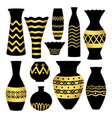 greek ancient bowls and vases with golden patterns vector image