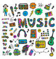 hand-drawn collection with music doodles colorful vector image vector image