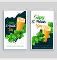 happy saint patricks day flyer set vector image