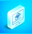 isometric line computer monitor with smart home vector image vector image