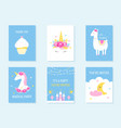 kids slumber and birthday party invites unicorn vector image vector image