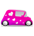 love and heart mini cartoon car pink vector image vector image