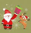Merry Christmas with Santa claus and deer gift vector image vector image