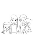portrait family dad carrying son and mom daughter vector image vector image