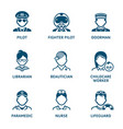 profession icons - set iv vector image