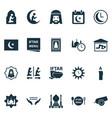 ramadan icons set with rug candle azan human vector image vector image