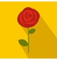 Red rose icon in flat style vector image vector image