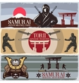 Samurai Horizontal Banners Set vector image