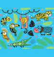seamless pattern with tropical animals vector image vector image
