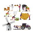 set of farming concept design elements vector image