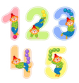 set of numbers with clown juggler from 1 to 5 vector image vector image