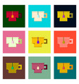 set pixel icons cup of tea vector image vector image