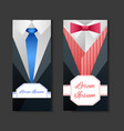 set templates with mens suits and place for text vector image