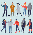 set winter people character vector image