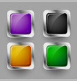 shiny four rounded square buttons design set vector image vector image