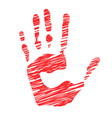 sketched human handprints stylized scratched man vector image vector image