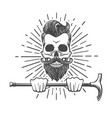 skull with beard and walking stick vector image