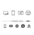 smartphone printer and browser window icons vector image vector image