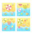 Summer square banners with flat travel elements vector image vector image