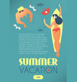 summer vacation people beach and sea in retro vector image vector image