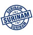 surinam blue round grunge stamp vector image vector image