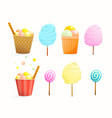 sweet street food for kids set cotton candy ice vector image