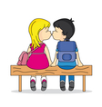 teen kissing in a bank vector image
