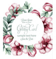 tropic flowers round frame watercolor vector image vector image