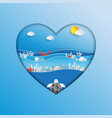 world oceans day concept design in heart shape vector image