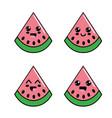 kawaii watermelon diferents faces icon vector image