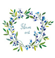 Floral wreath with hand drawn design vector image