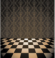 Brown room with checkered floor vector image