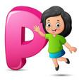 alphabet p with happy girl