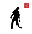 black silhouette of zombie on white background vector image vector image