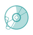 blue shading silhouette of music compact disc vector image vector image